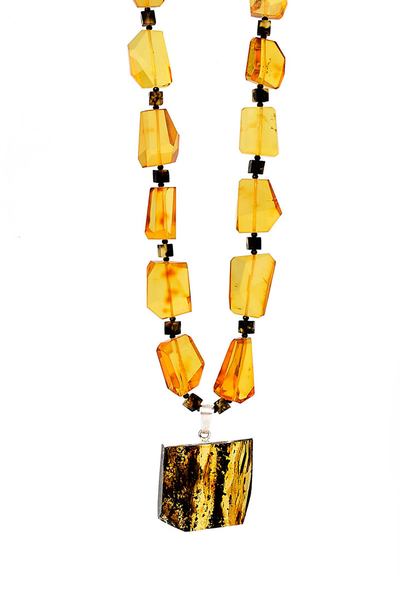 Beautiful Faceted Jumbo Amber Bead With Amber Pendant