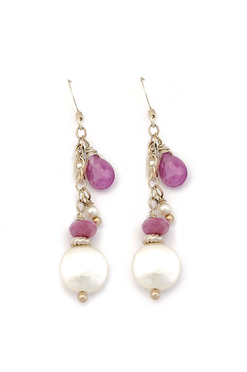 Sterling Silver Freshwater Pearl & Ruby Drop Earrings