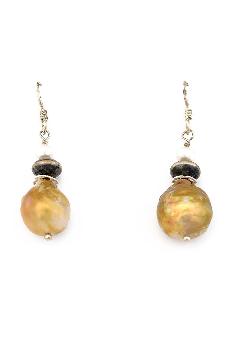 Baroque Pearl Earrings with Navajo Silver Bead