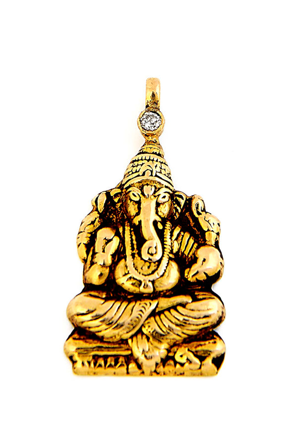 18kt Gold & Diamond Ganesh Pendant