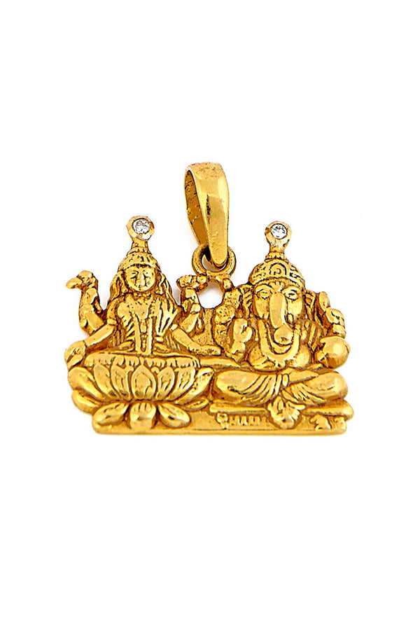 18kt Gold with Diamond, Ganesh & Lakshmi Pendant