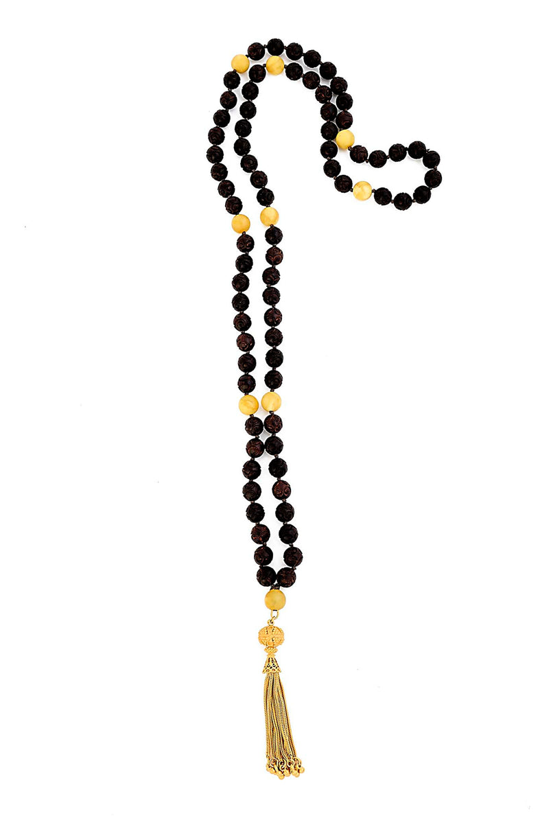 Hand-carved Rosewood Butterscotch Amber Mala with 24kt gold over sterling silver Tassel