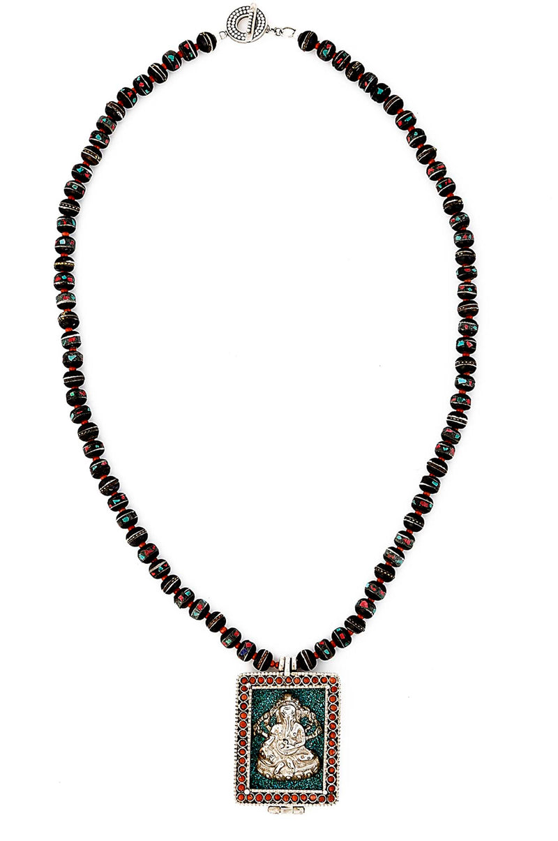 Tibetan Inlay Bead Necklace with Coral and Turquoise Framed Ganesh Pendant