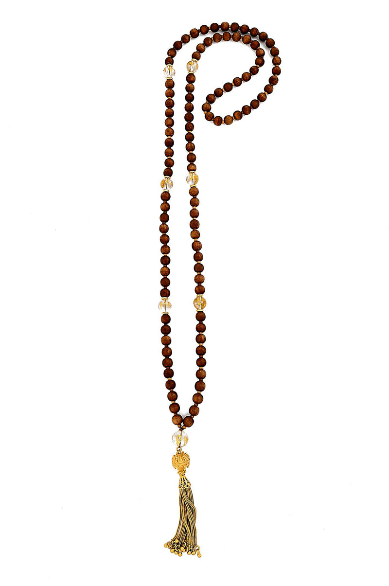 Sandalwood & OM MANI PADMI HUM Crystal Beaded Mala Necklace