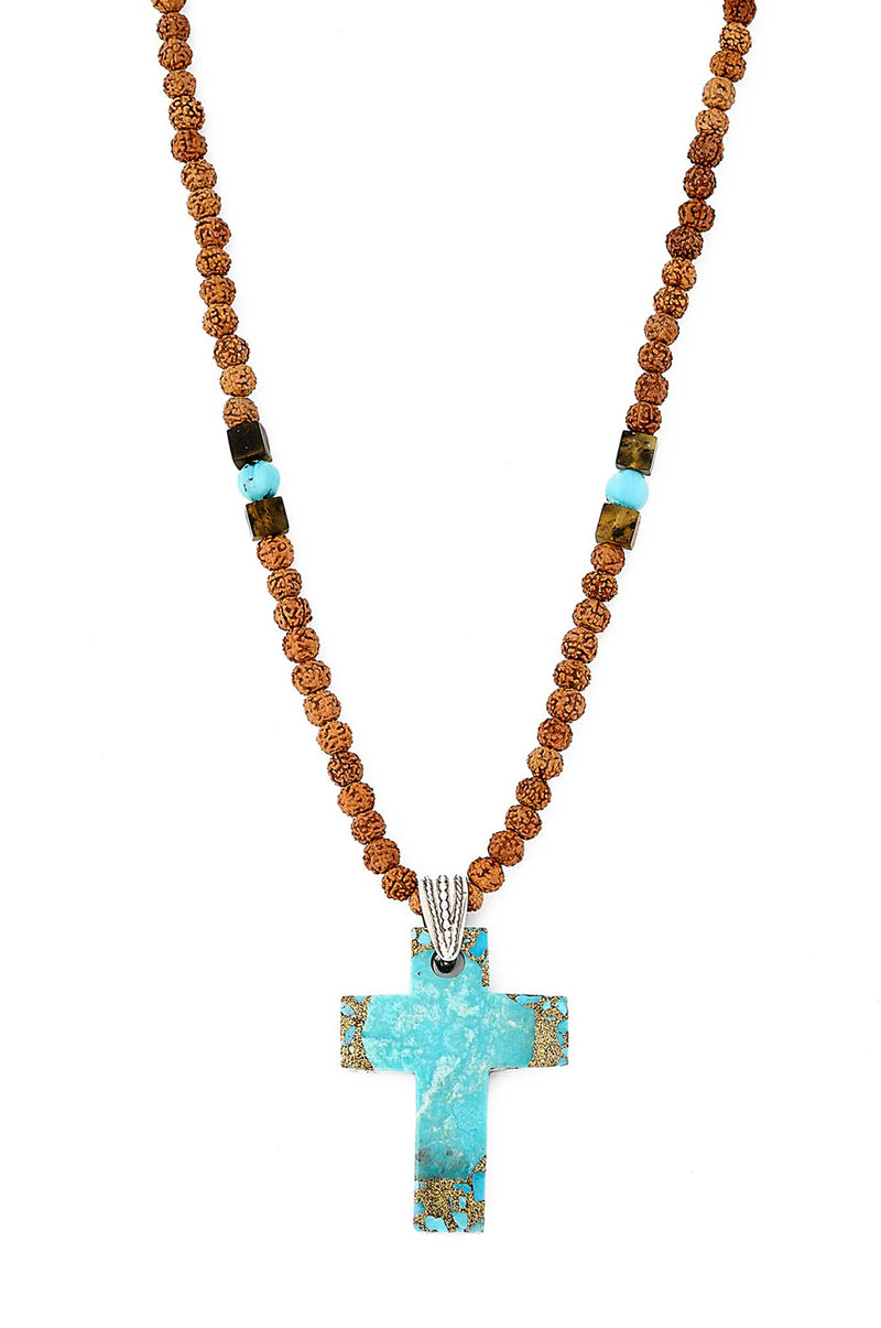 Amber and Turquoise Beaded Necklace with Turquoise Cross Pendant