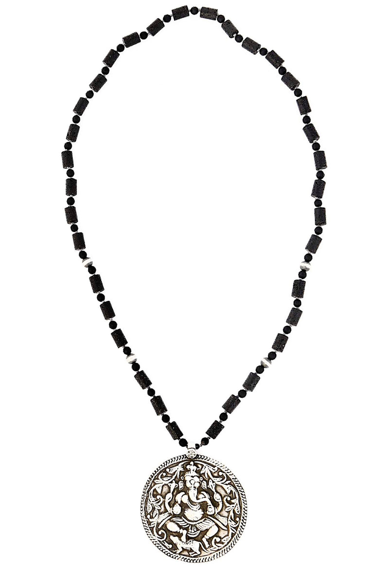 Lava Rock & Onyx Tube Necklace with Vintage Silver Ganesh Pendant