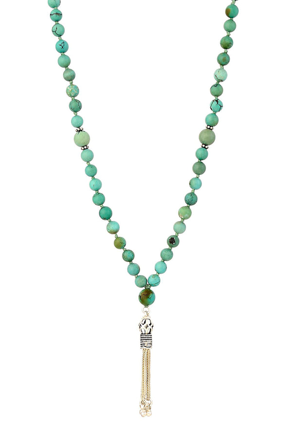 Green Turquoise Knotted Mala Necklace