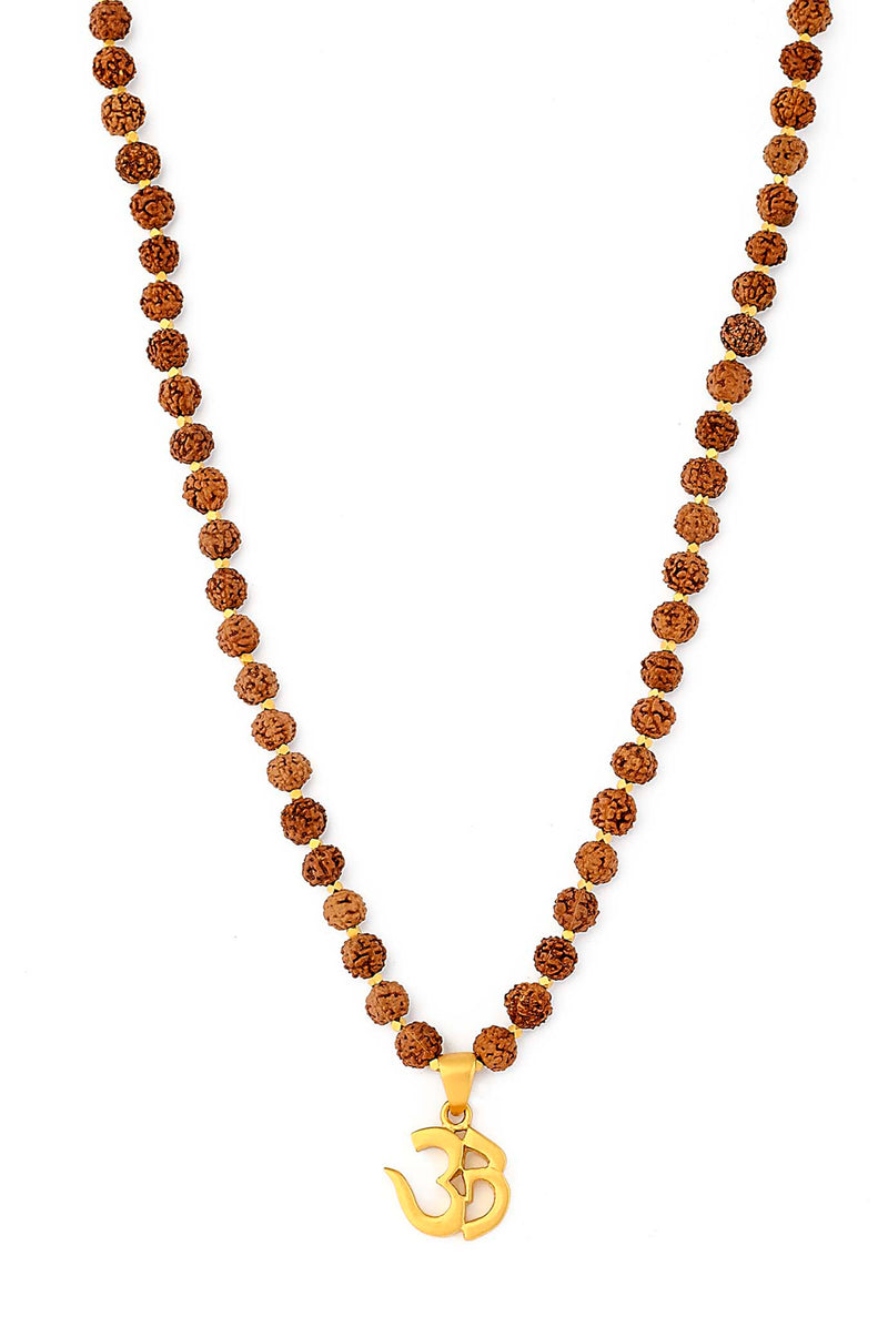 Rudraksha Beaded Necklace with 24kt Gold Over Sterling Silver OM Pendant