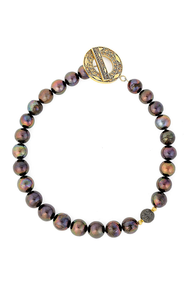 Black Freshwater Pearl Necklace with black diamond bead & Signature Sukhmani Clasp