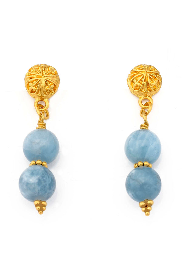Gold Plated Aquamarine Post Earrings