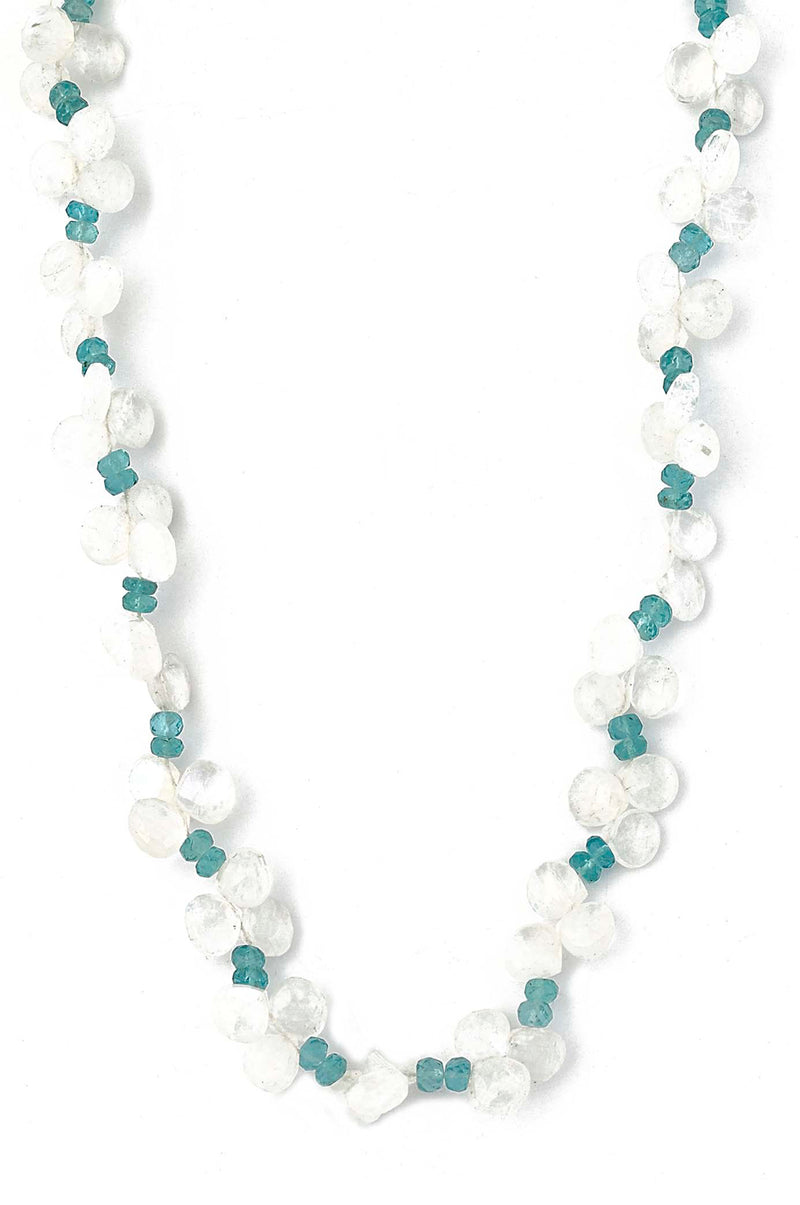 Faceted Moonstone Drops & Blue  Apetite Necklace