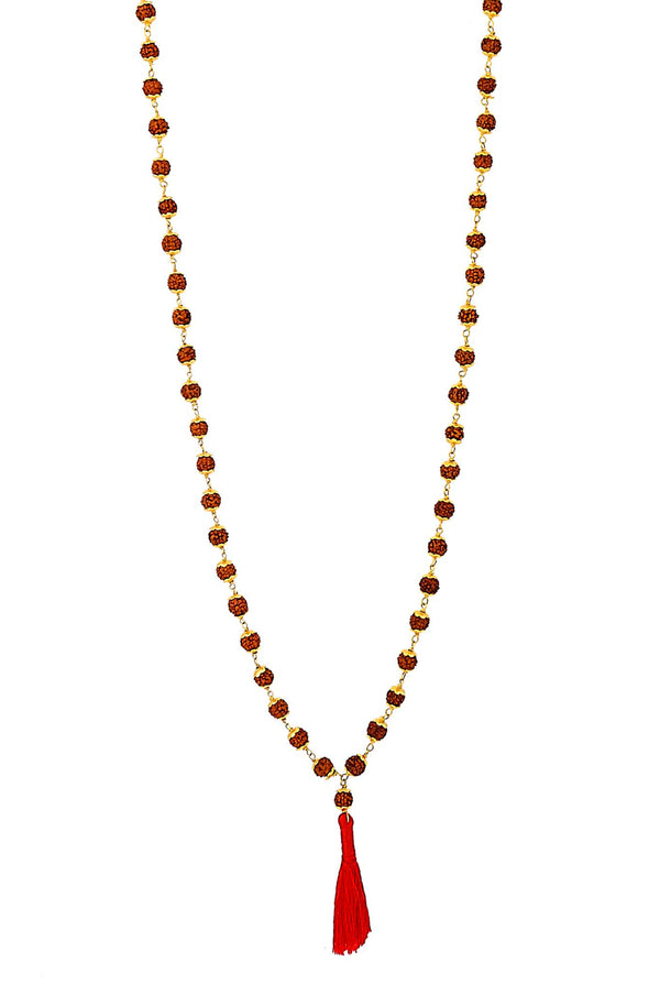 22k Gold Hand Wire Wrapped Rudraksha Mala 108 Beads