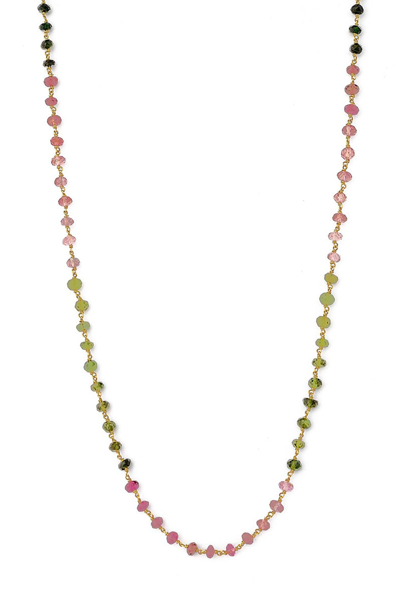 Delicate 18kt Gold Hand Wire Wrapped Faceted Rainbow Tourmaline Necklace