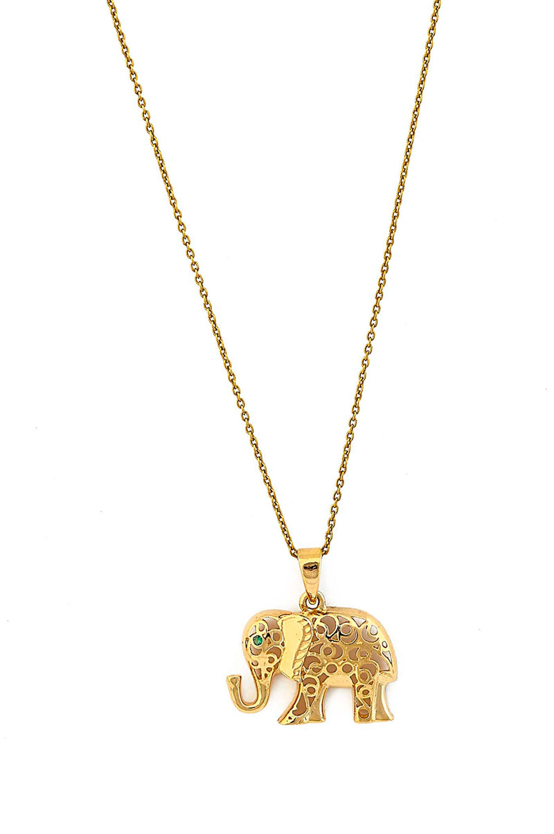 Contemporary 18kt Gold Emerald Elephant Necklace