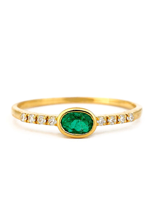 18kt gold Colombian Emerald & Diamond Ring