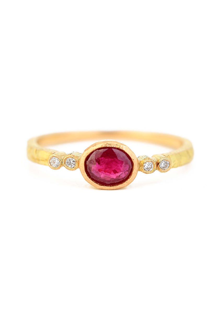 18kt Faceted Ruby & Diamond Ring