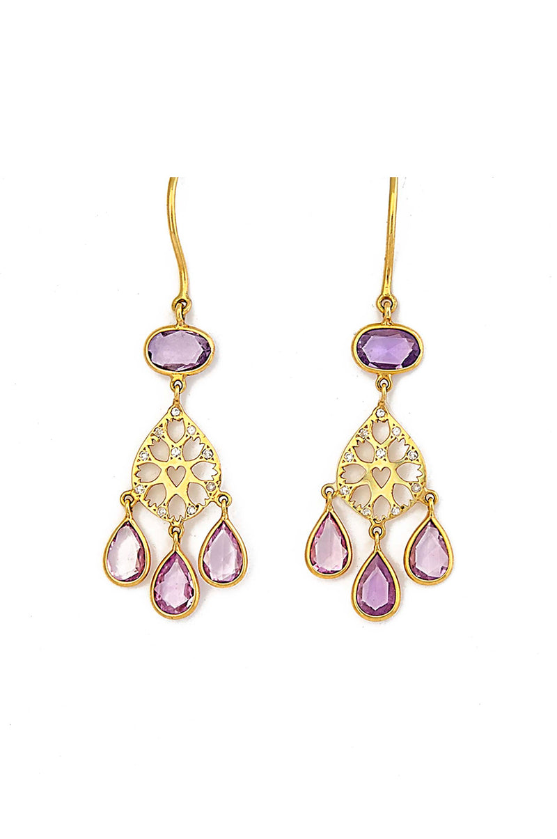 18kt Gold & Pink Sapphire Drop Earrings Earrings