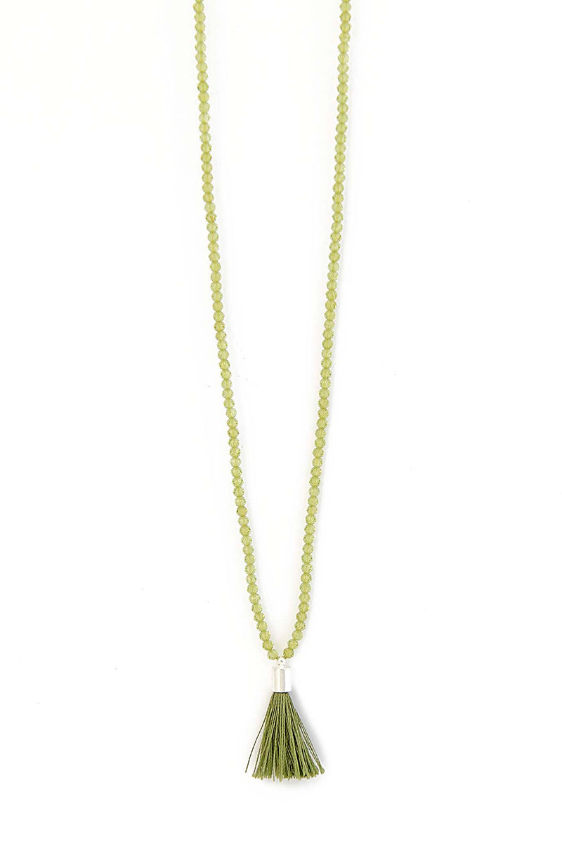 Natural Peridot Tassel Necklace