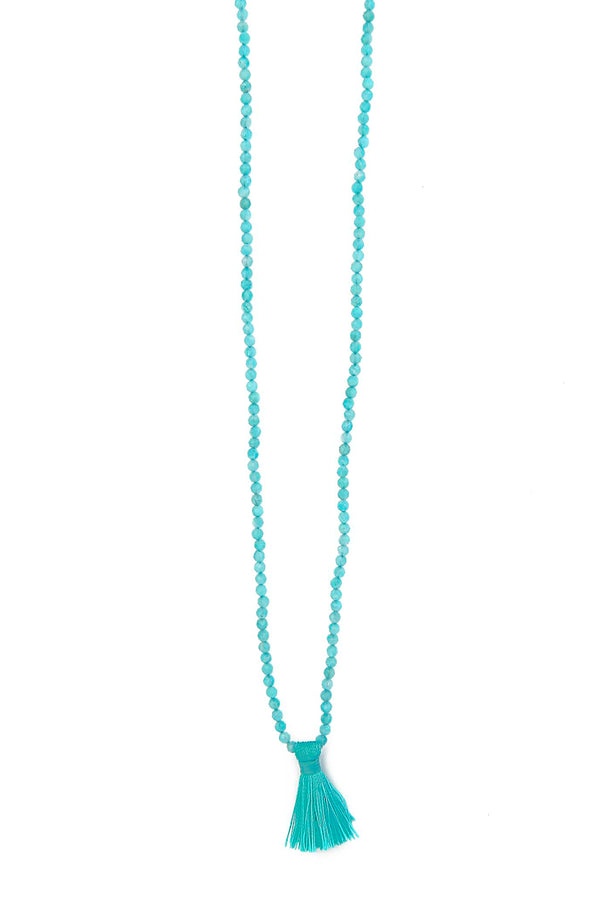 Natural Amazonite Round Tassel Necklace