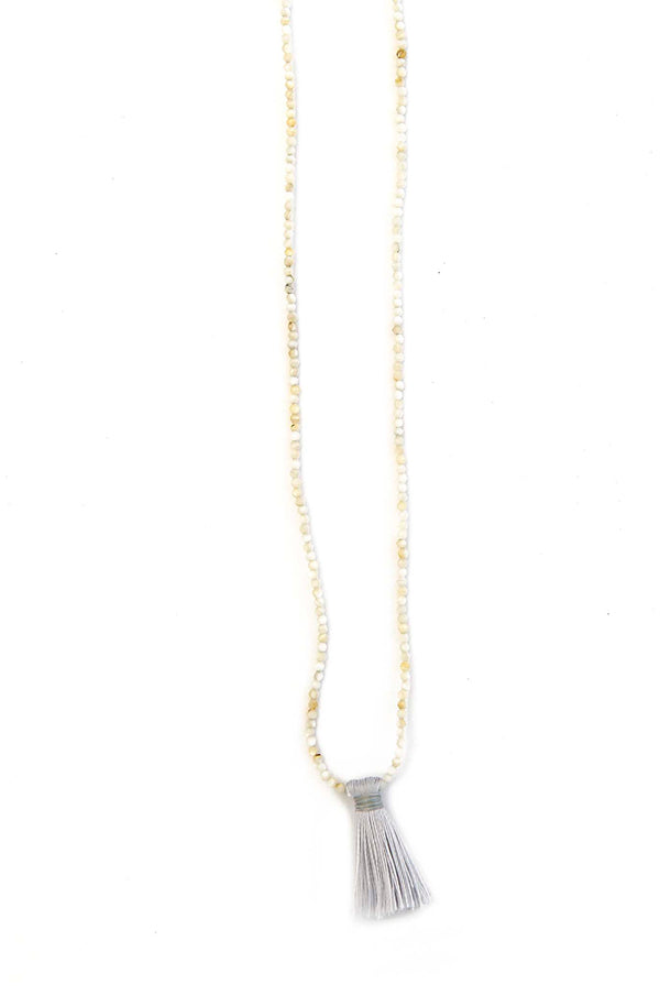 Delicate Faceted Mother of Pearl Tassel Necklace