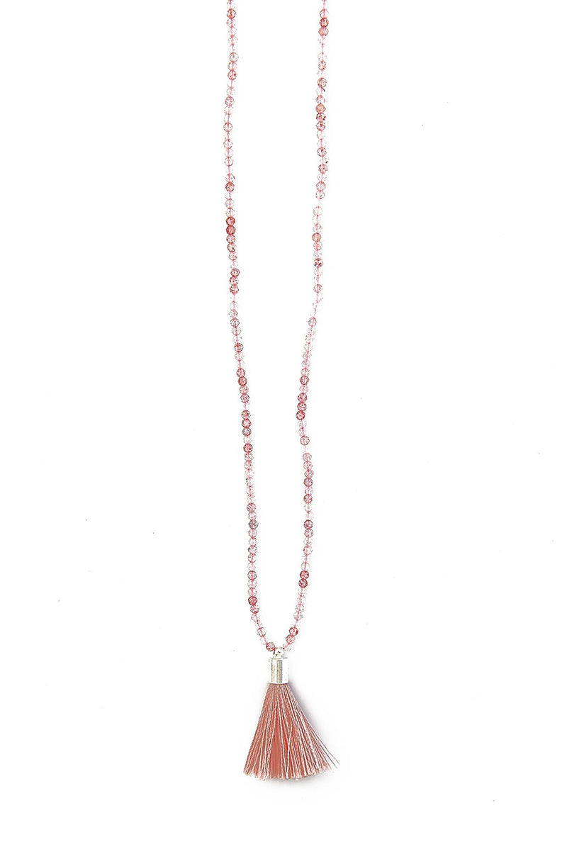 Strawberry Quartz Round Faceted Tassel Necklace