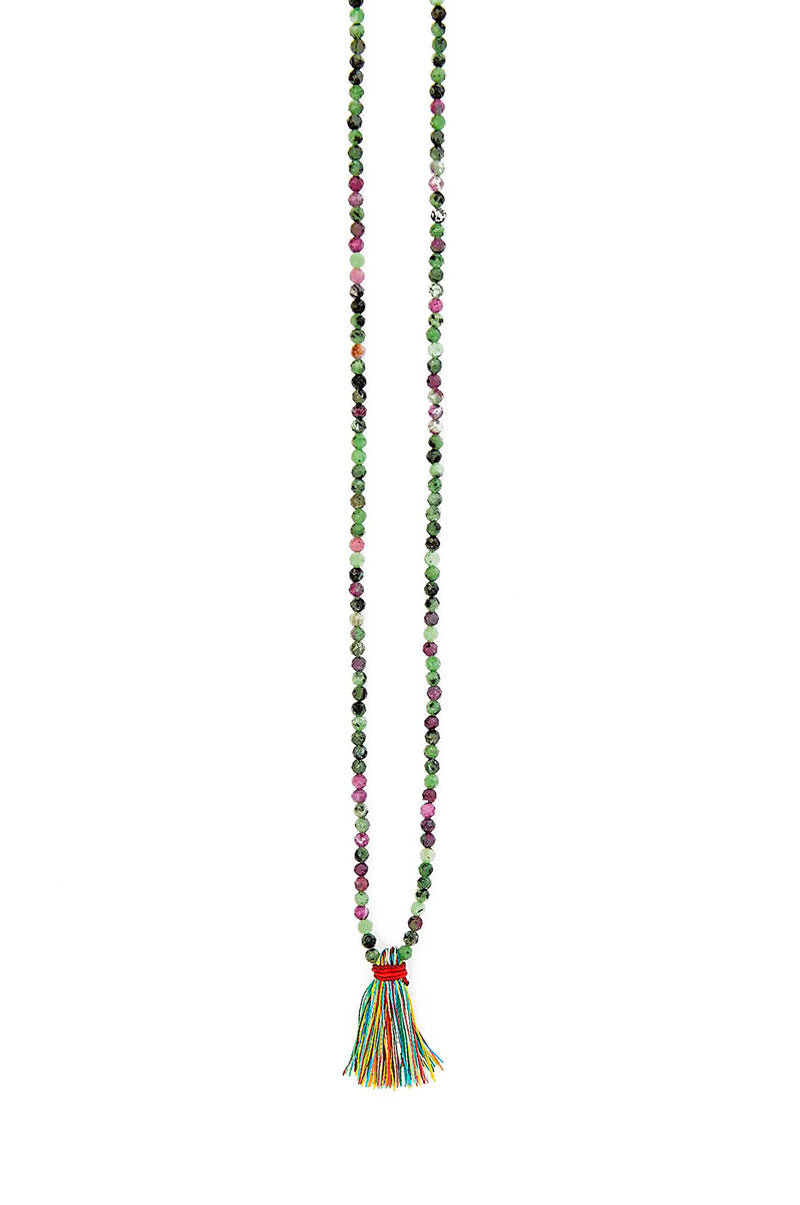 Delicate Faceted Multi Colors Natural Ruby Zoisite Fabric Tassel Necklace