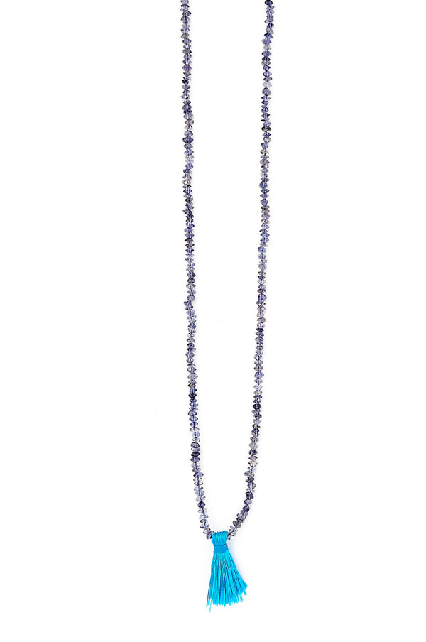 Iolite Saucer Fabric Tassel Necklace