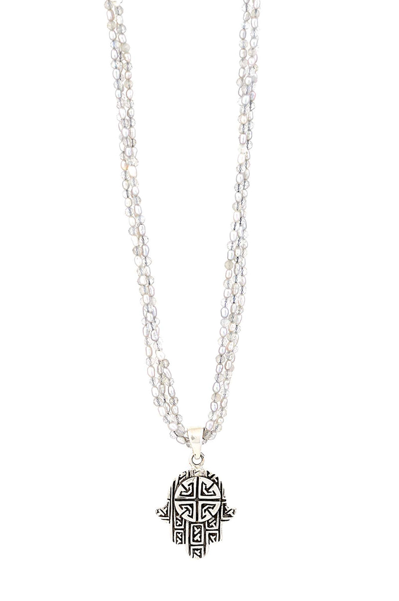 Micro Freshwater Pearl & Labradorite Necklace with Sterling Silver Hamsa Pendant