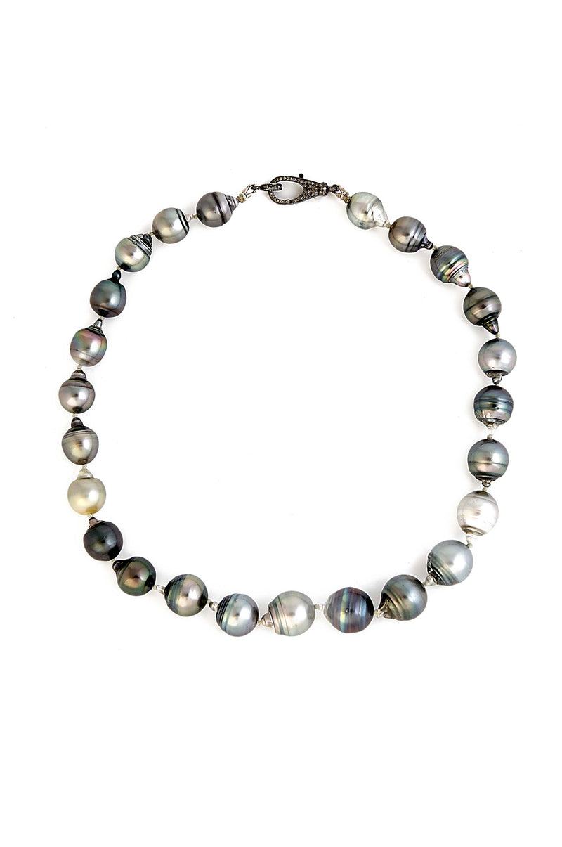 Gorgeous Hand Knotted Natural Tahitian Pearl Necklace with Diamond Clasp