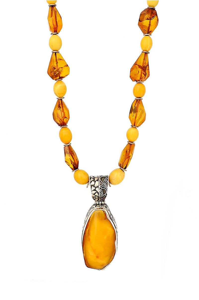 One of a Kind Butterscotch Amber Necklace with Pathway & Flow Design