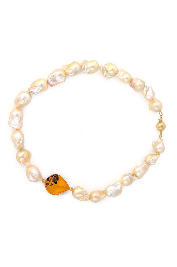 ONE OF A KIND 18kt Gold Freshwater Baroque Pearl & Amber Necklace