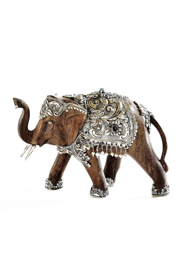 Handmade Silver & Wood Royal Elephant