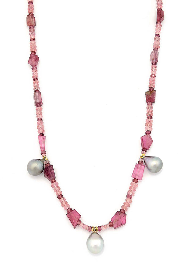 18kt Gold & Natural Faceted Pink Tourmaline Necklace with Tahitian Pearls