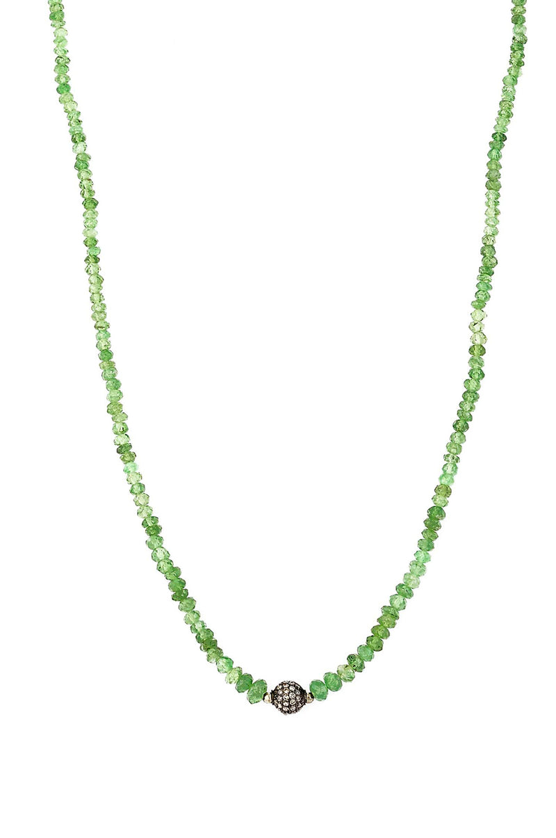 Delicate Natural Peridot Rondel With Diamond Bead Necklace