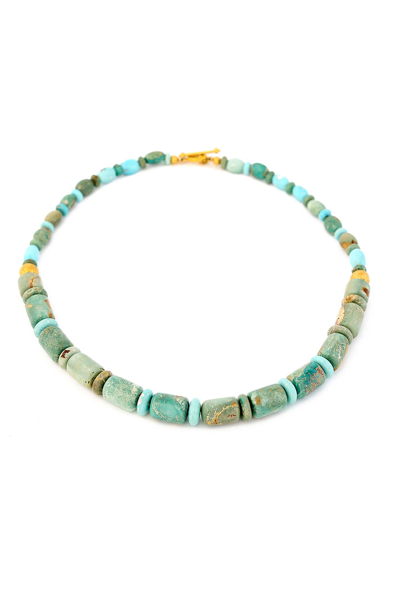 18kt Gold & Natural Blue/Green Turquoise Barrel Necklace