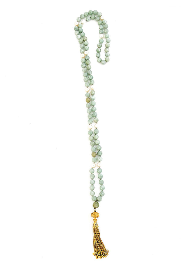 Burmese Jade & Freshwater Pearl mala with 24kt gold over sterling silver tassel