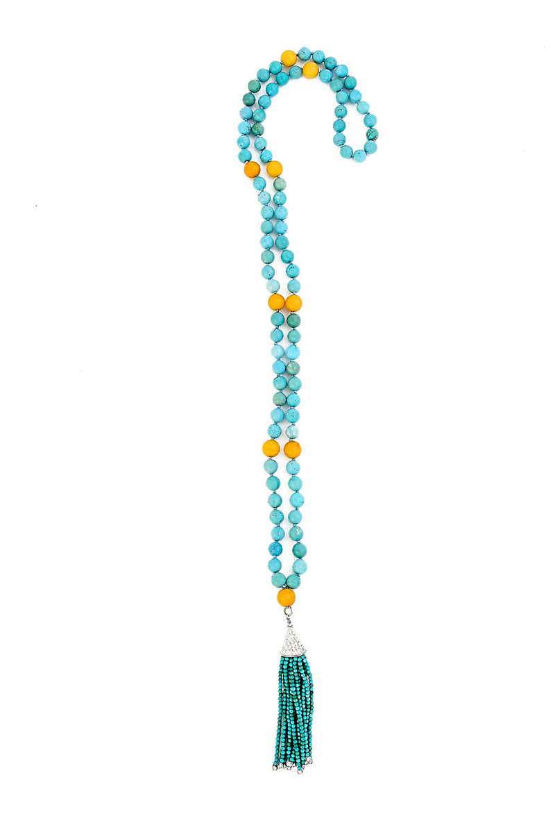 ONE OF A KIND AAA Grade Turquoise & Amber Mala With Sterling Silver Tassel