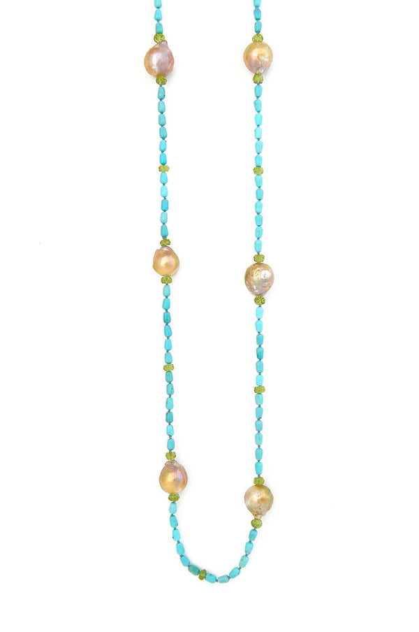 Sleeping Beauty Turquoise & Baroque Pearls with Peridot Necklace