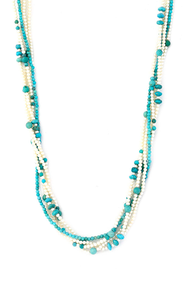 Five Strand Micro Pearl & Turquoise Necklace