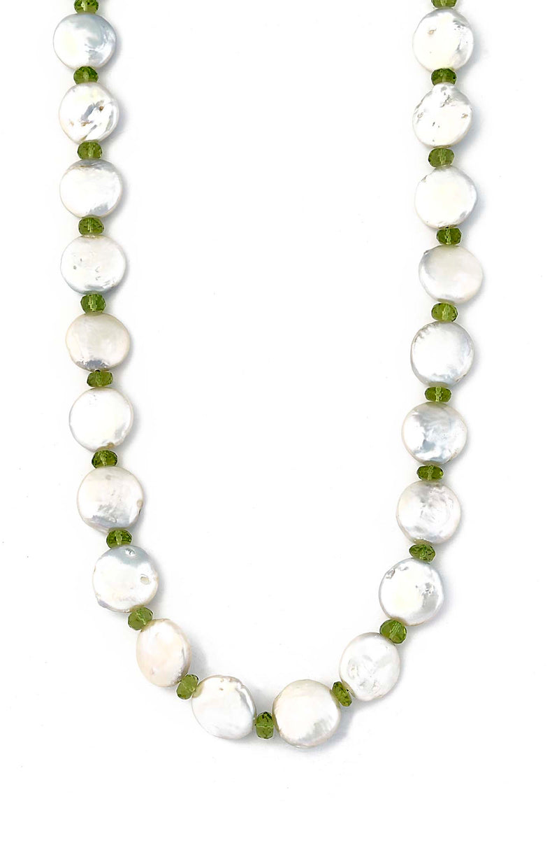 Coin Shaped Freshwater Pearl & Peridot Necklace