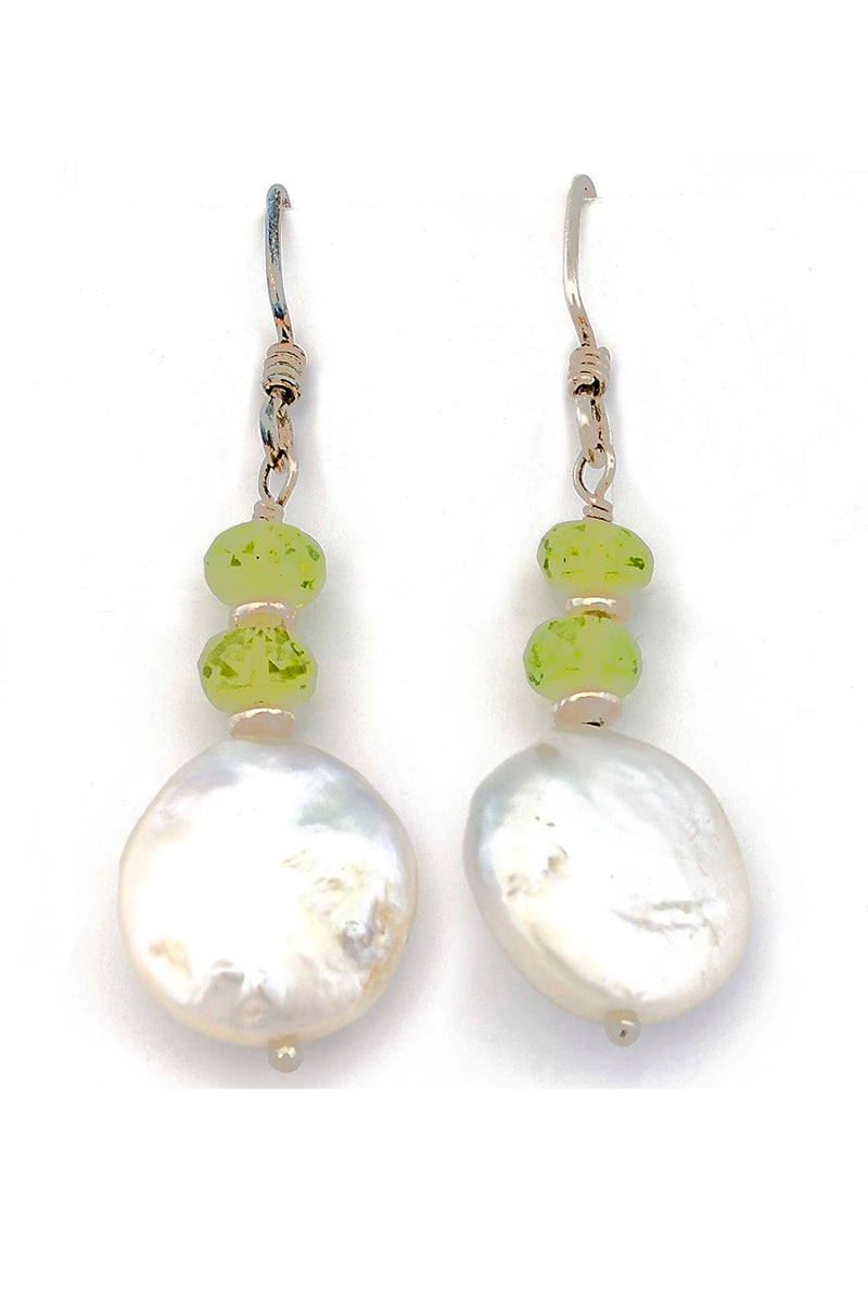 Sterling Silver Freshwater Coin Pearl & Peridot Earrings