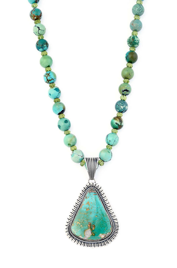 ONE OF A KIND Navajo Royston Turquoise Pendant on Peridot & Green Turquoise Necklace
