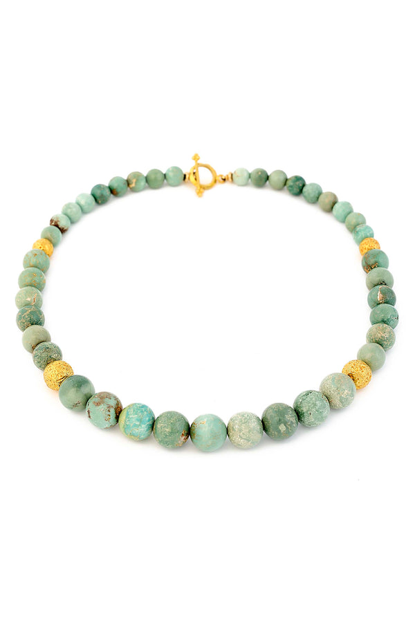 18kt Gold & Graduated Natural Blue/Green Turquoise Necklace