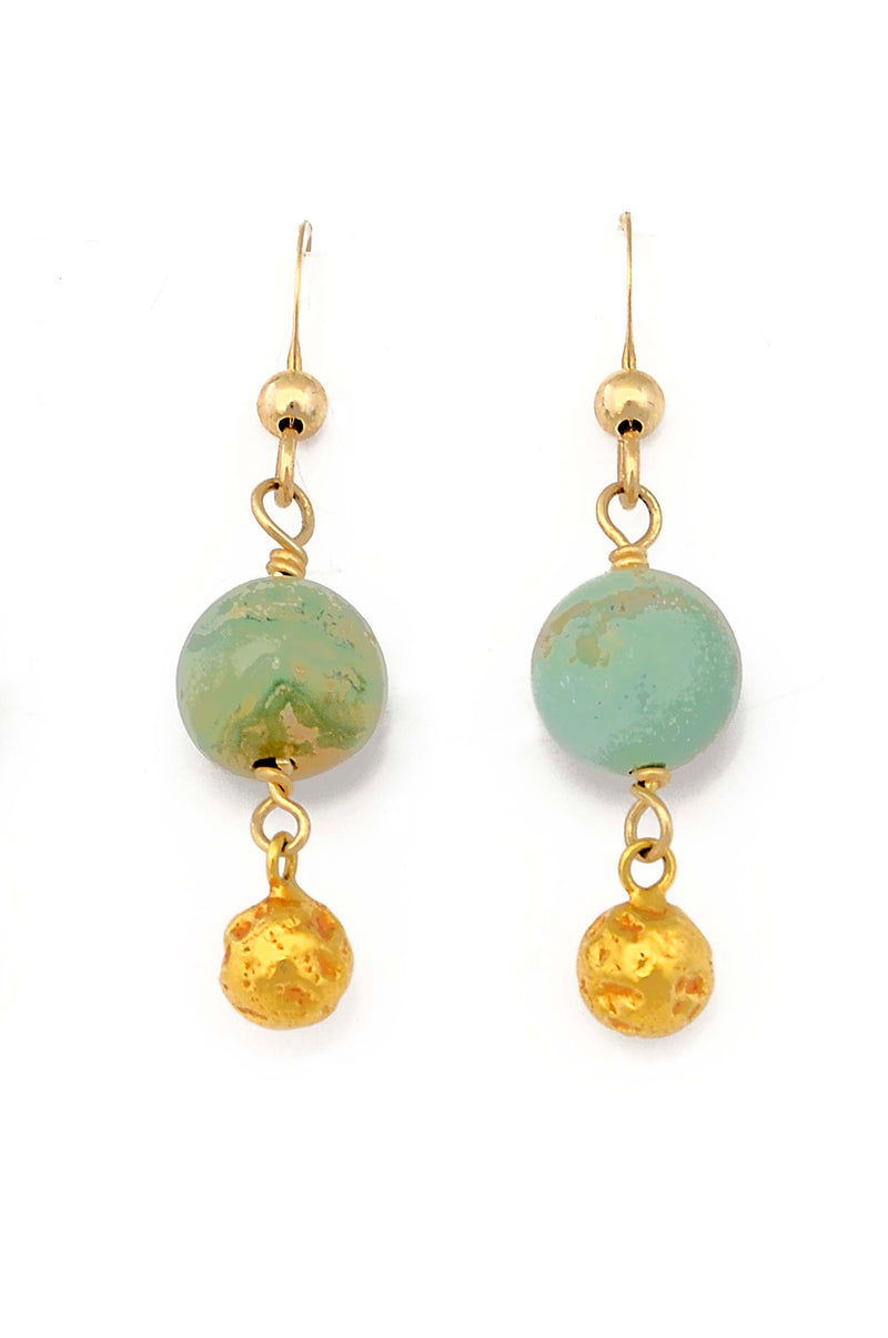 18kt Gold Natural Green Turquoise Earrings