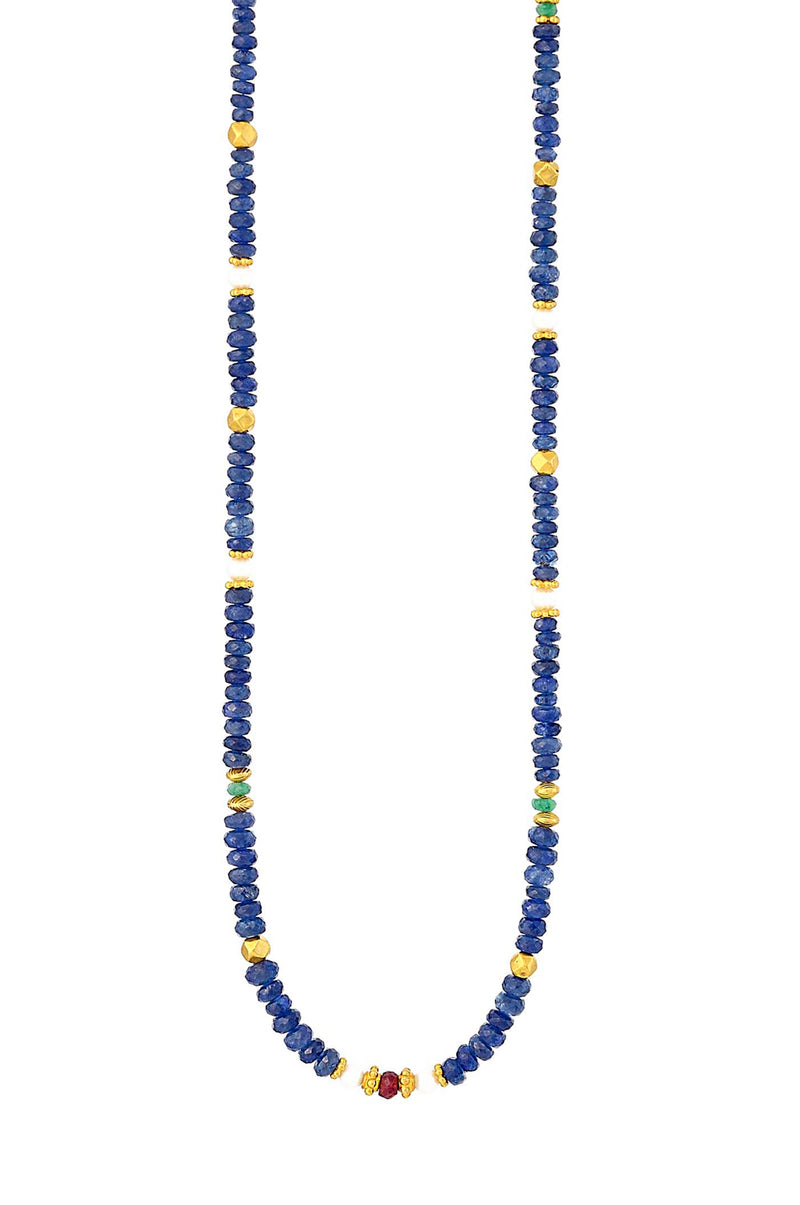 Blue Sapphire, Freshwater Pearl, Ruby and Emerald Necklace