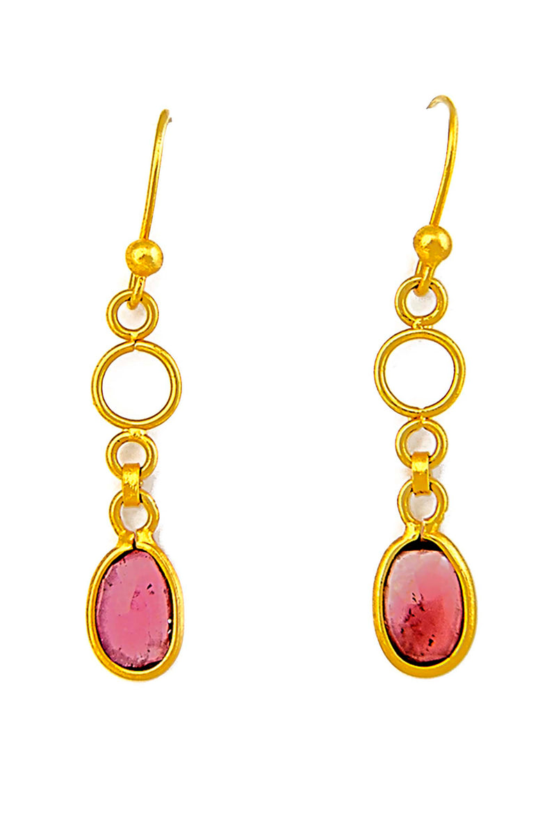 18kt Gold & Pink Sapphire Drop Earrings