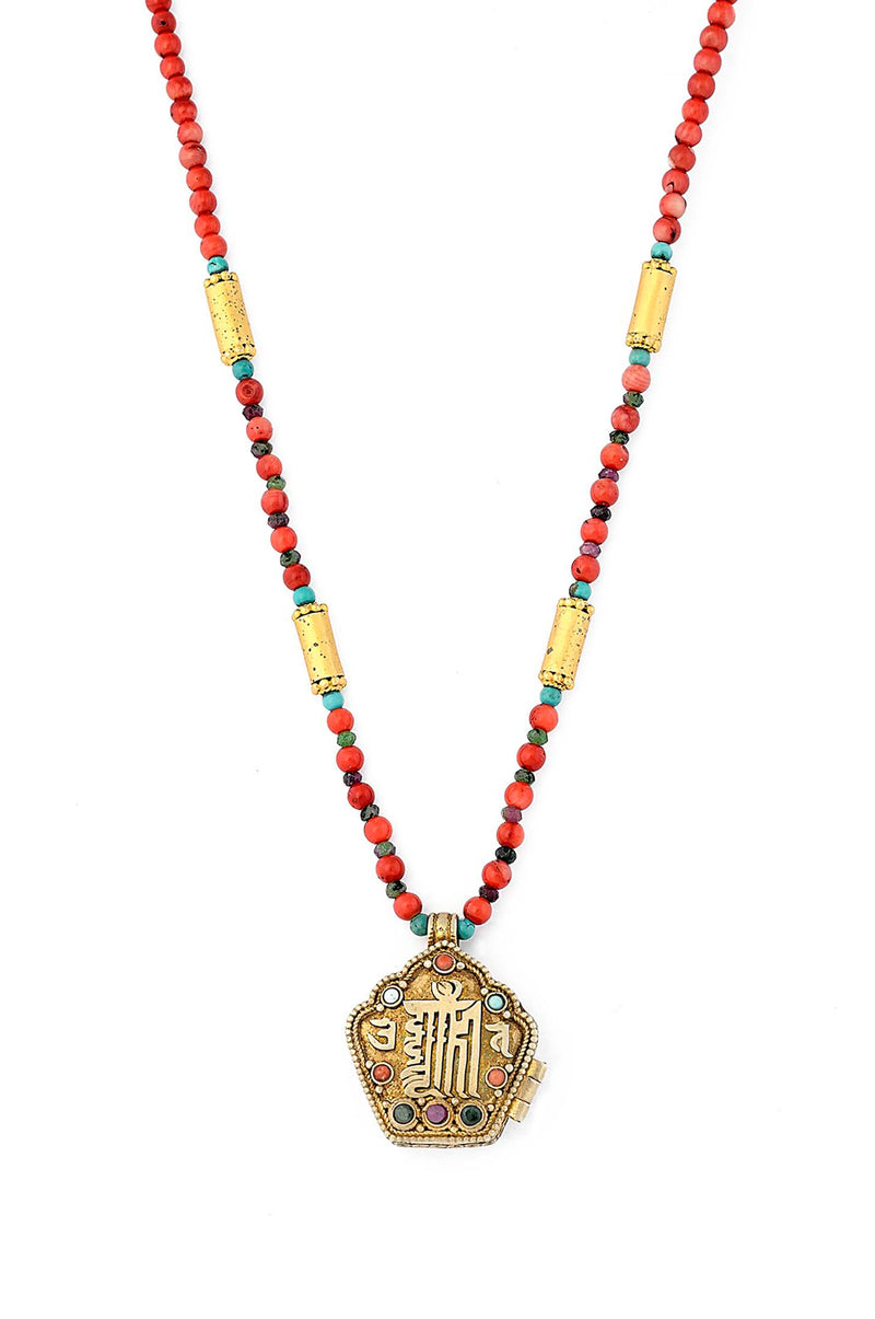Tibetan Locket Pendant with Coral Bamboo & Turquoise beads