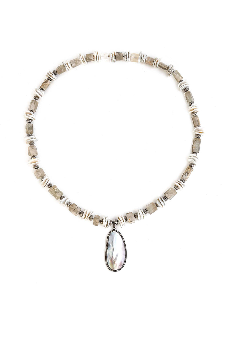 Gorgeous Kieshe Pearl, Lodalite & Labrodorite Necklace with Mother of Pearl & Diamond Pendant