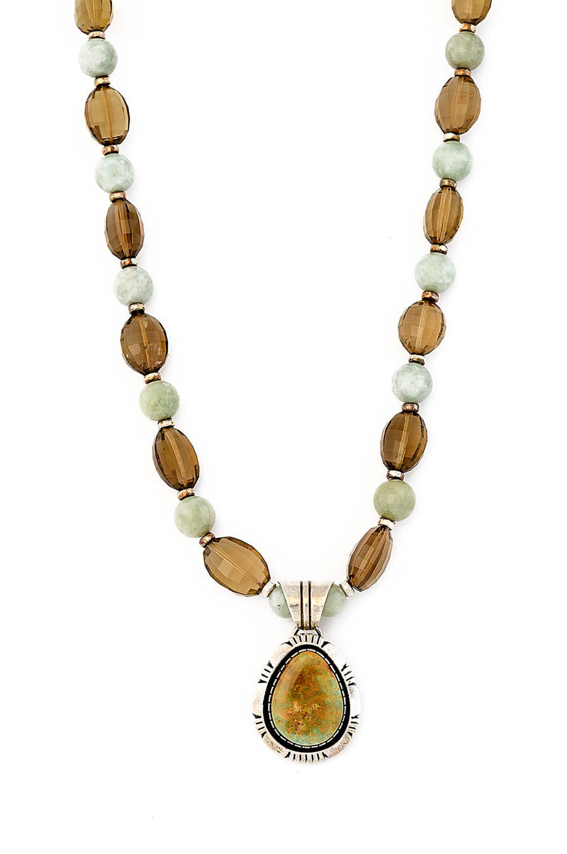 One of a Kind. Burmese Jade, Faceted Beer Quartz Handmade Navajo Pendant Necklace