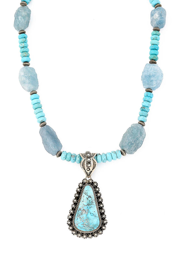 One of A Kind Rough Cut Aquamarine & Turquoise Necklace with Navajo Pendant